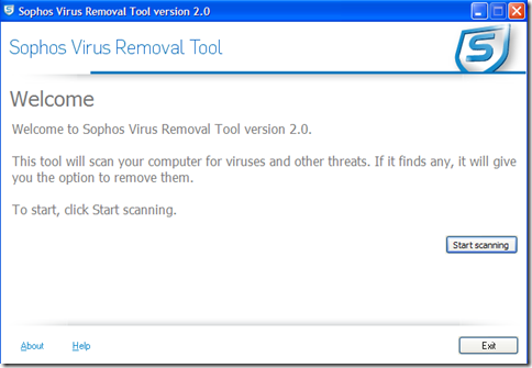 Sophos Virus Removal Tool avvia scansione
