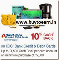 (last day) ICICI Bank Debit & Credit Cards 10% Cashback on Rs. 5000 at amazon