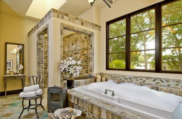 Baños Estilo Eclectico:Como se puede ver, este baño es amplio, ya que puede proporcionar un