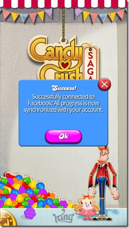 Candy Crush Saga - Successfully connected to Facebook