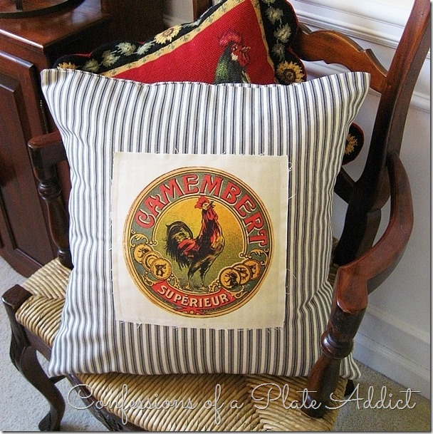 CONFESSIONS OF A PLATE ADDICT  French Ticking and Vintage Camembert Label Pillow