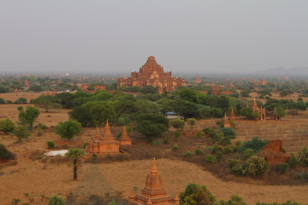 Dhammayangi temple as seen from the Shwe San Taw Temple, Bagan, Burma