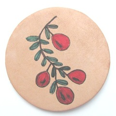 cranberry n vine image I designed stamped on leather