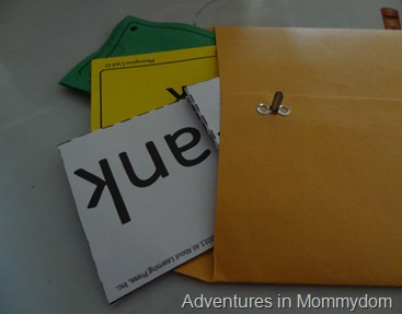 manila envelope with lesson