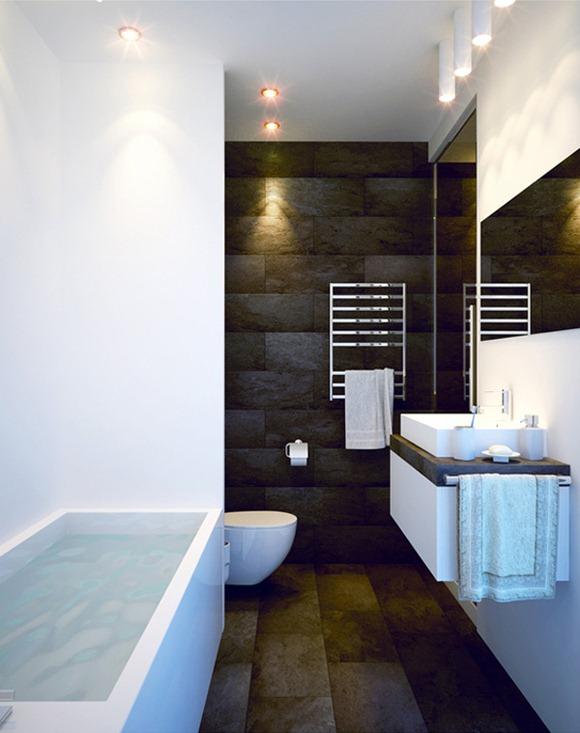 Baños Con Jacuzzi De Lujo:Un ejemplo de un cuarto de baño de estilo minimalista