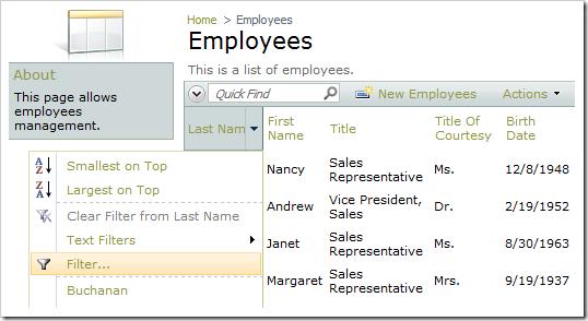 Multiple Value Filter option for Last Name column.