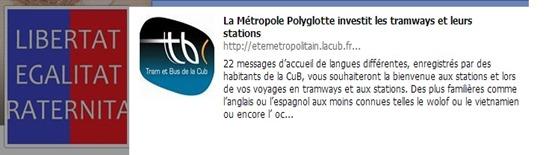 Messatge en occitan de Bordèu dins lo tram