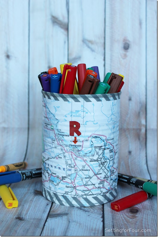 DIY Map Pen Holder Kids Craft www.settingforfour.com