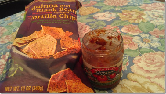 trader joe's quinoa and black bean tortilla chips and muir glen organic salsa