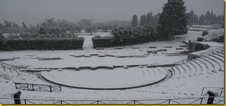 Fiesole - L'Anfiteatro Romano Sotto la Neve