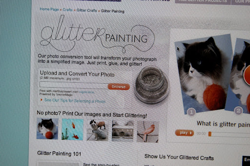 You just search for a photo, print it out, apply glue, and then glitter!
