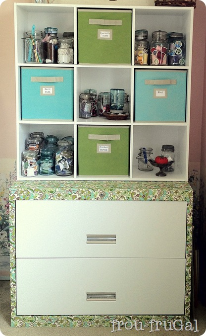 Fabric Mod Podged Lateral File Craft Hutch