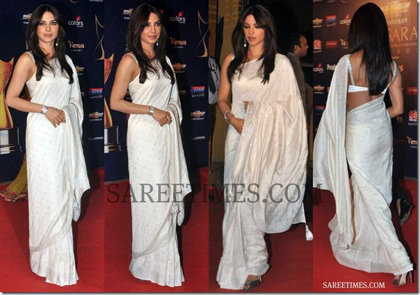 Priyanka_Chopra_White_Saree