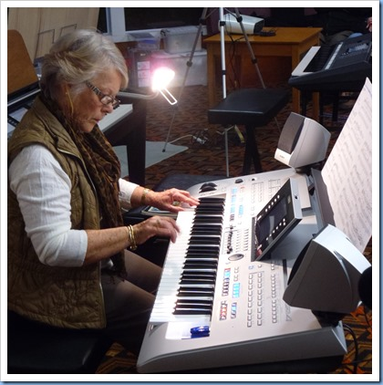 Marlend Forrest playing her Yamaha Tyros 4