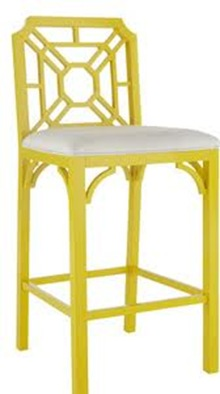yellow chinese chippendale barstool