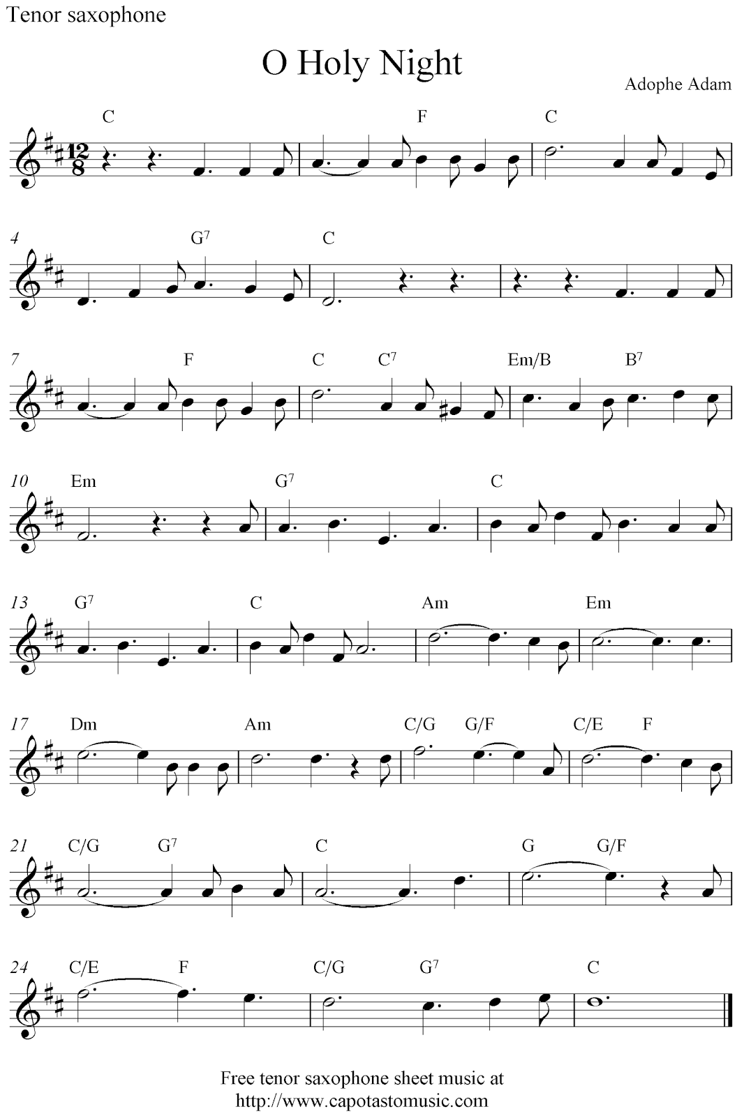 Free sheet music recorder christmas songs piano and for O holy night decorations