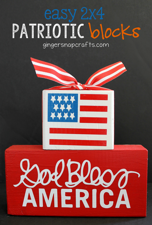 Easy 2x4 Patriotic Blocks at GingerSnapCrafts.com #silhouettechallenge #silhouetteCAMEO #silhouetteportrait #tutorial