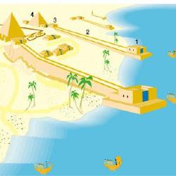 15 - Reconstrucion de conjunto arquitectonico de templos y tumbas a orillas del Nilo