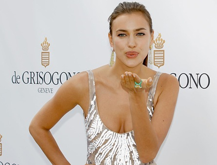 Irina Shayk at Cannes lovely Duo Fo Emerald and Diamonds