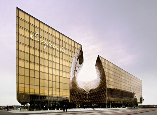 emporia shopping mall gold glass architecture sweden