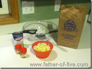Ingredients for White Castle Stuffing