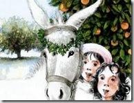 Platero con la corona de perejil y los niños