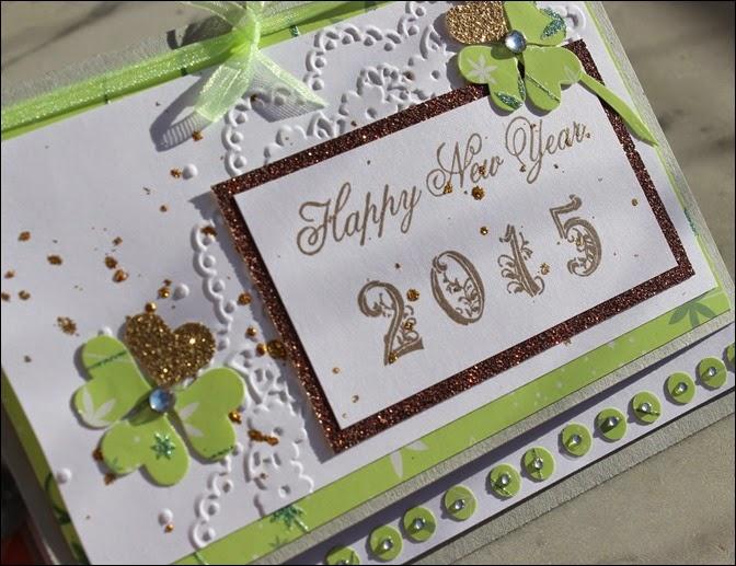 Stampin Up Neujahr Grußkarte Kleeblatt Gold 2015 05