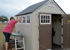 Barb Hanging The Lights On The Shed - Hang on Barb - no falling!