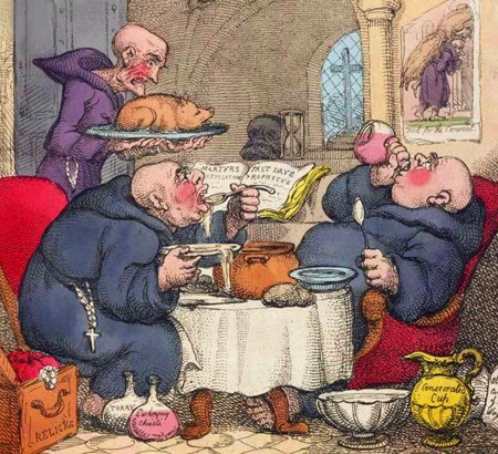 Monaci golosi caricatura T. Rowlandson, satira The Holy Friar 1807