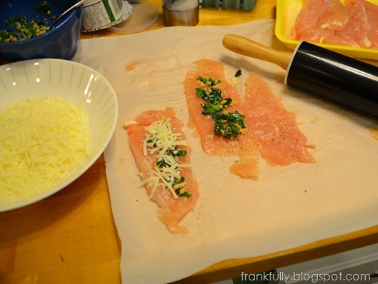 spread the basil/garlic then sprinkle with mozzarella