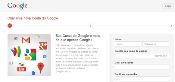 Nova tela de cadastro do Google Brasil
