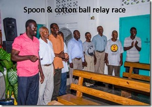 spoon and cotton race at the men's meeting tagged