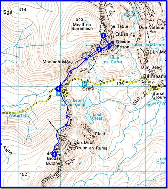 Monday's route - 10km, 650m ascent, 4.5 hours