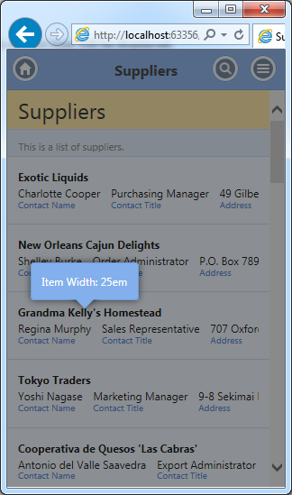 Display width of  a list item depends on the available screen width in apps with Touch UI created with Code On Time generator.