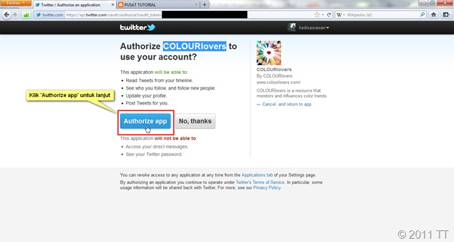 Klik tombol 'Authorize app'