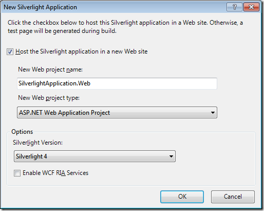 4 - Create New Silverlight Application by Specifying the Application Name