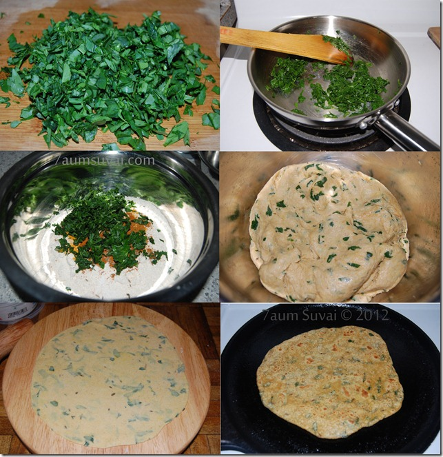 Methi paratha process