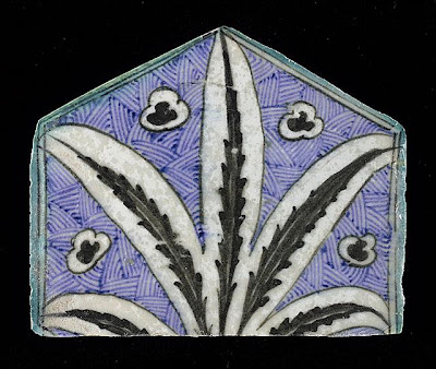 Tile | Origin: Syria or Egypt | Period:  15th century | Collection: The Madina Collection of Islamic Art, gift of Camilla Chandler Frost (M.2002.1.767) | Type: Ceramic; Architectural element, Fritware, underglaze-painted, Height: 5 11/16 in. (14.45 cm); Width: 6 15/16 in. (17.62 cm); Depth: 5/8 in. (1.59 cm)
