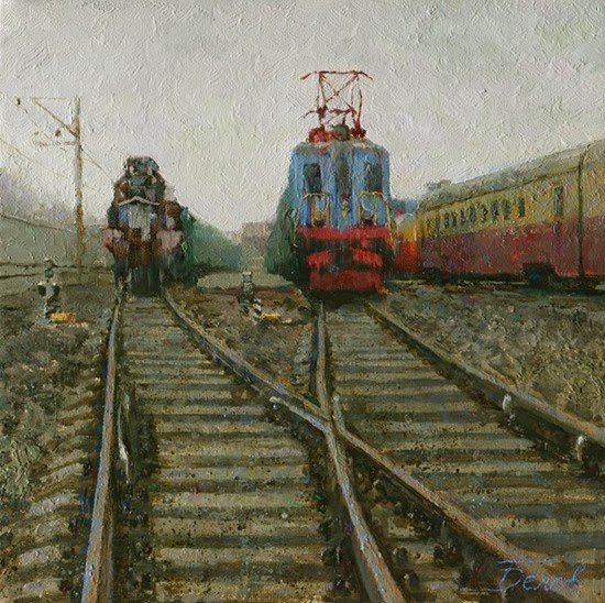 Oil landscape with Trains and railways