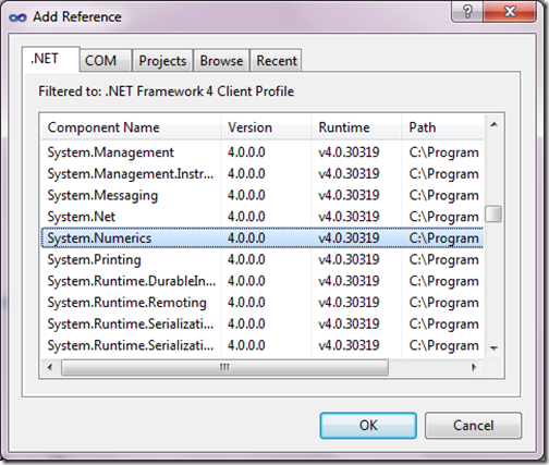Big Integer In C# 4.0 - Add Reference to System. Numeric