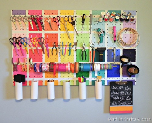 Colorful Pegboard - Mad in Crafts