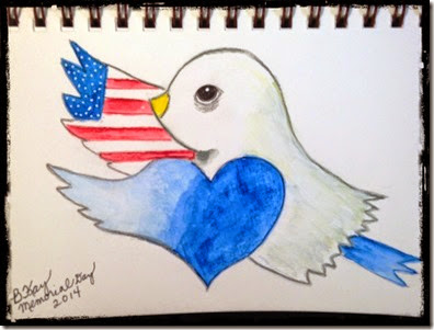 memorial day bird w border