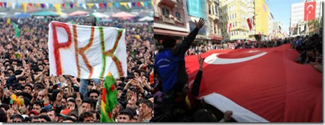 Pro and anti PKK rallies