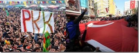 Pro and anti PKK rallies