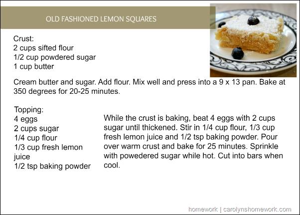 Old Fashioned Lemon Squares via homework  | carolynshomework.com