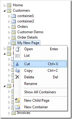 Cut context menu option on My New Page node.