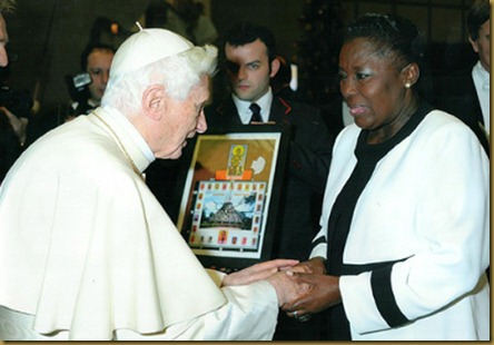 the pope with Rebecca Kadaga