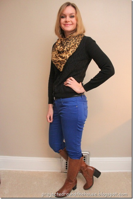 blue skinnies, black cardi, leopard scarf, cognac knee hi boots