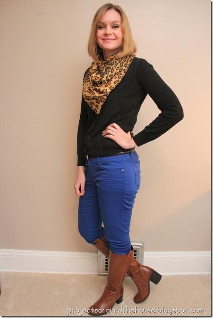 blue skinnies, black cardi, leopard scarf, cognac knee hi boots