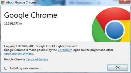 google chrome update feb 2012